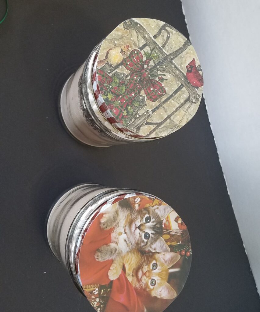 Christmas cards used on lids