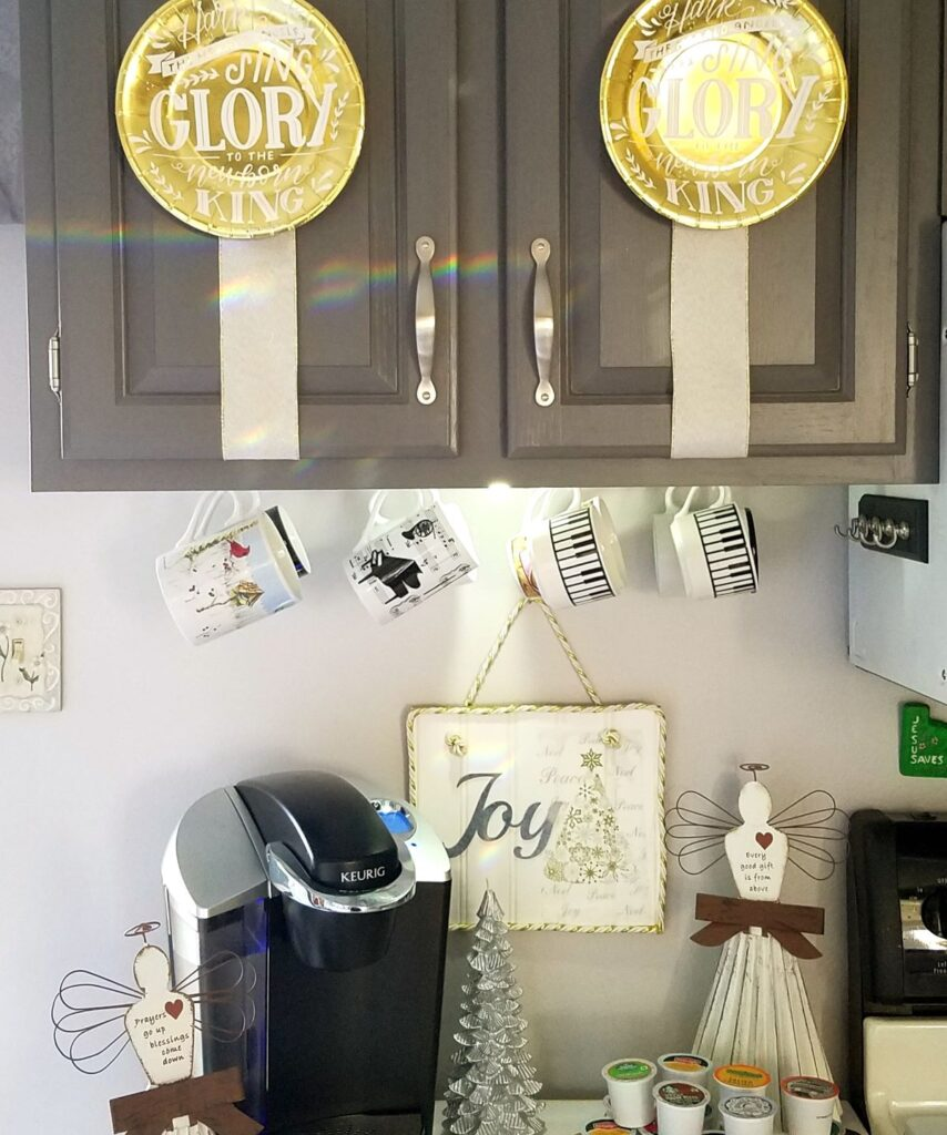 Coffee station decorated in Angel theme