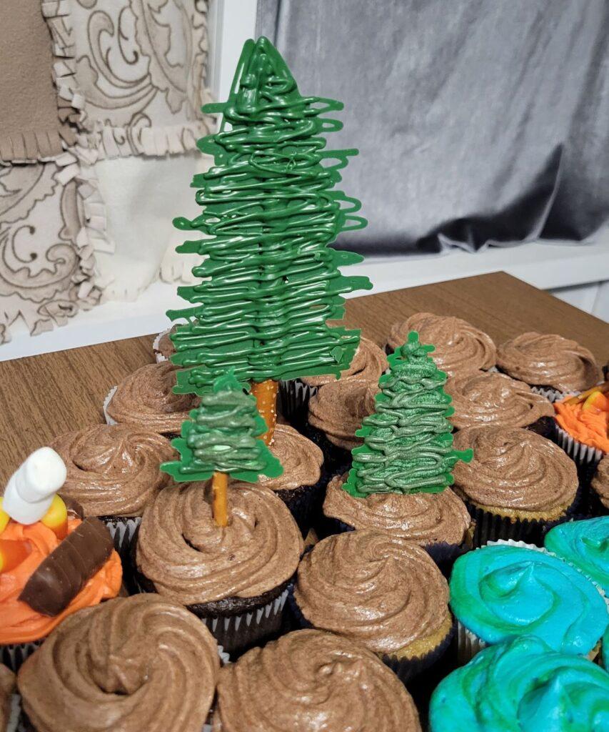 Pretzel tree on a cupcake