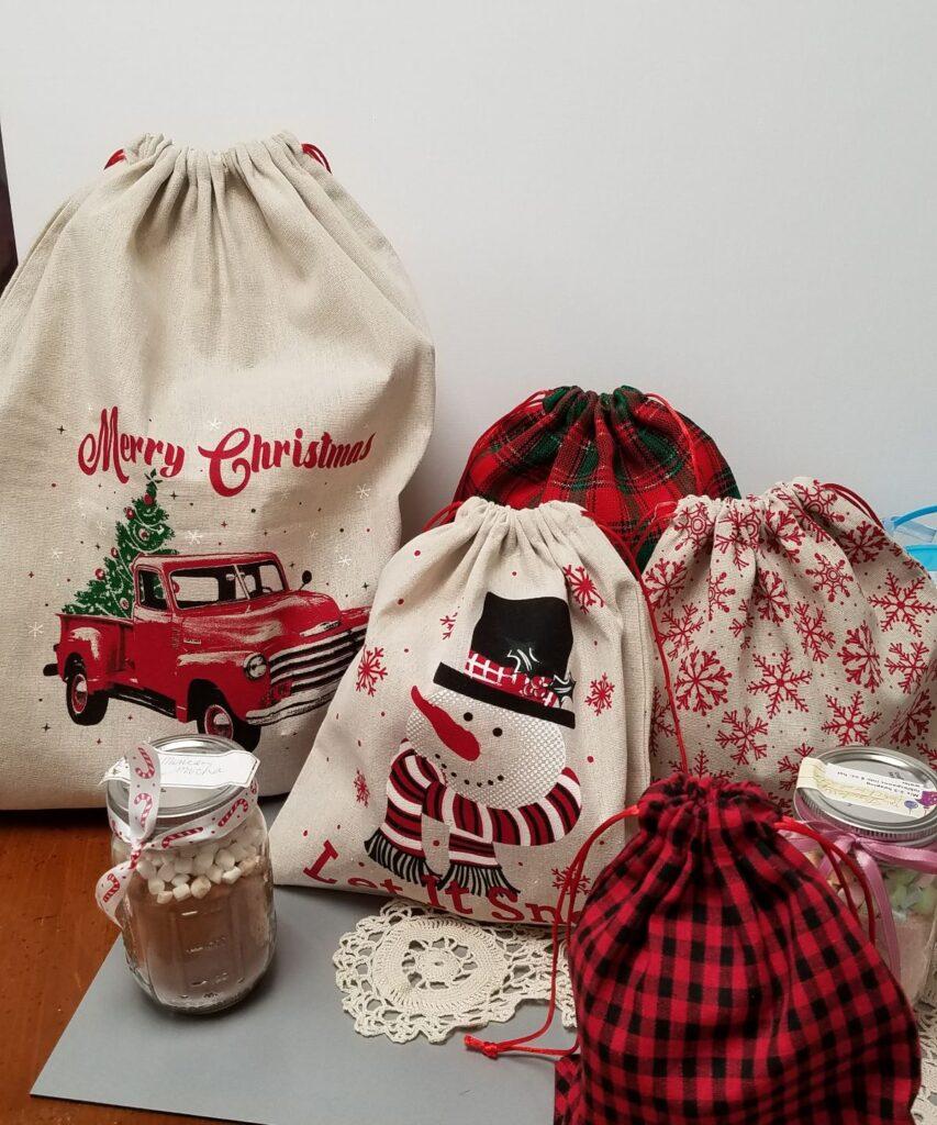 Christmas themed fabric gift bags