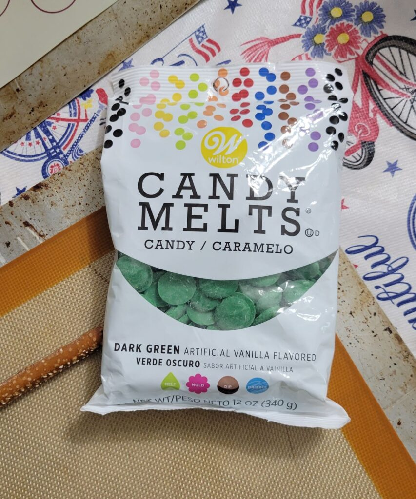 green candy melts in a bag