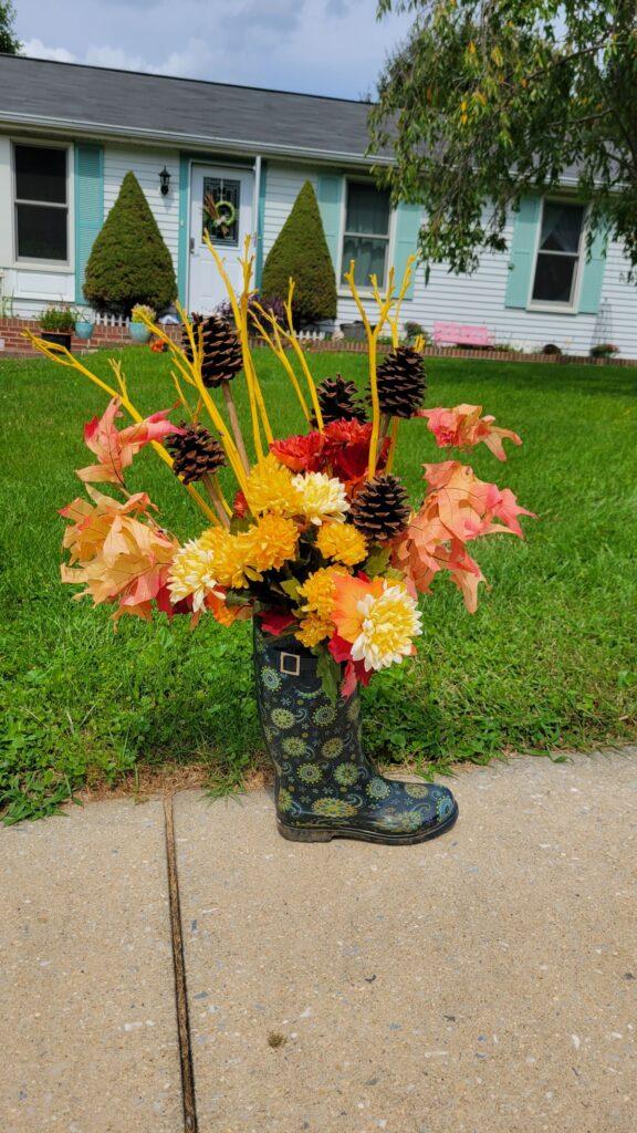 rainboot floral arrangement for fall