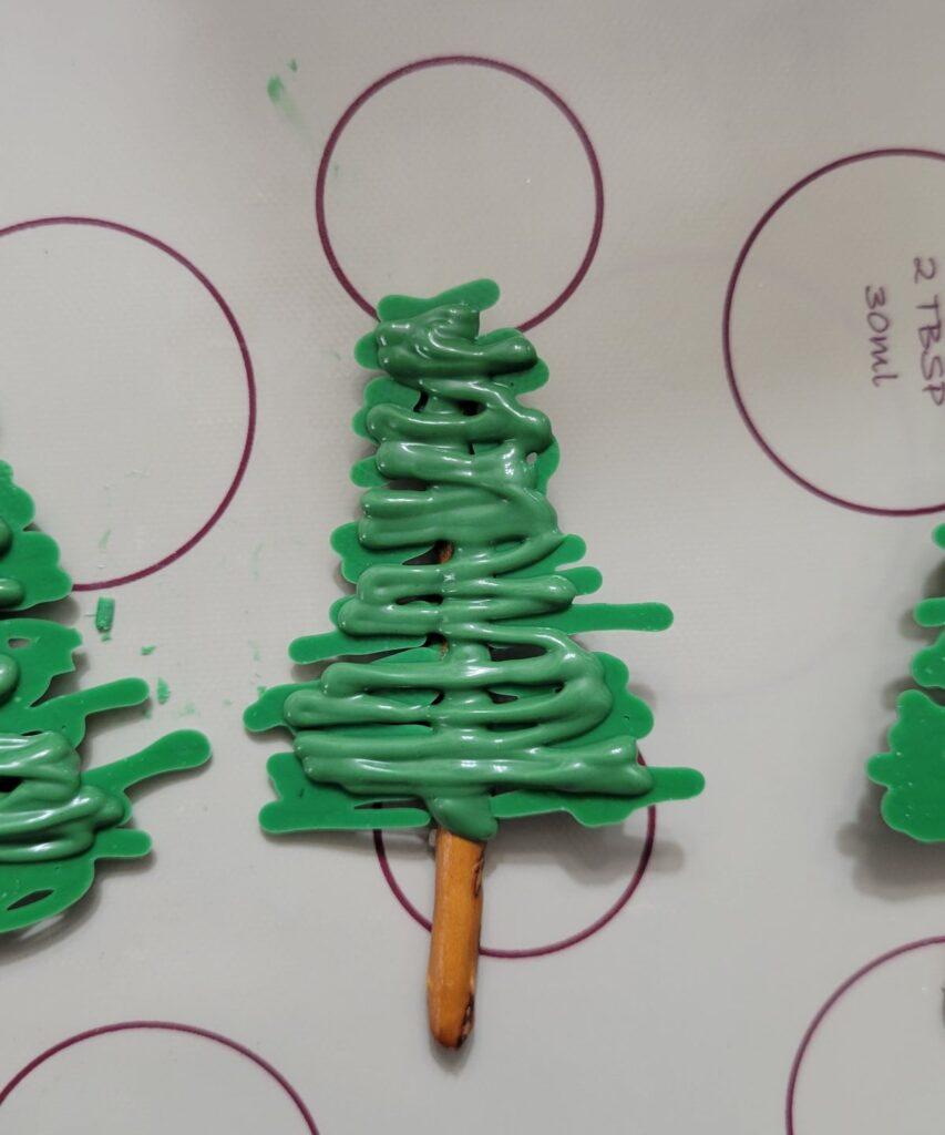 miniature pretzel tree with green chocolate