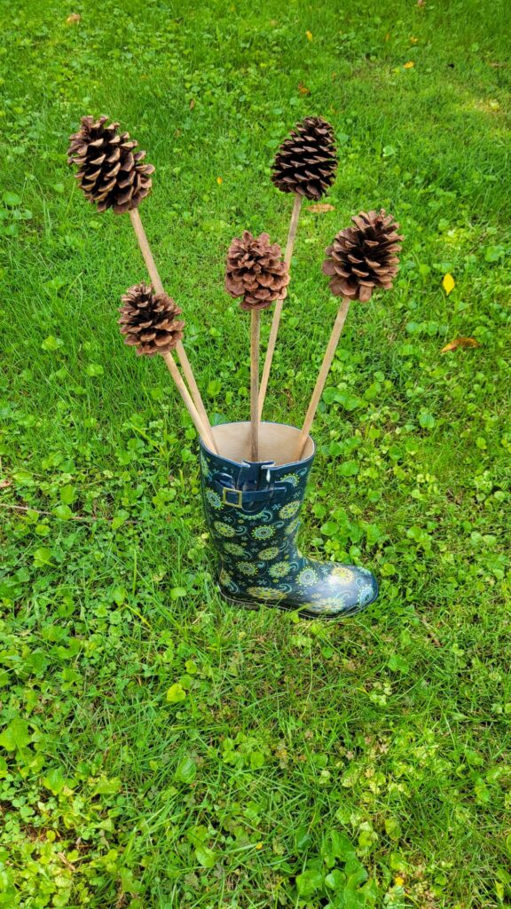 pine cones on sticks
