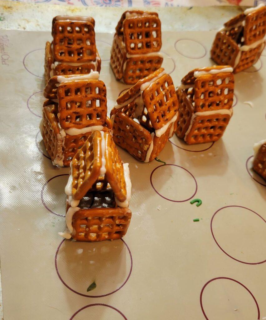 miniature pretzel log cabins
