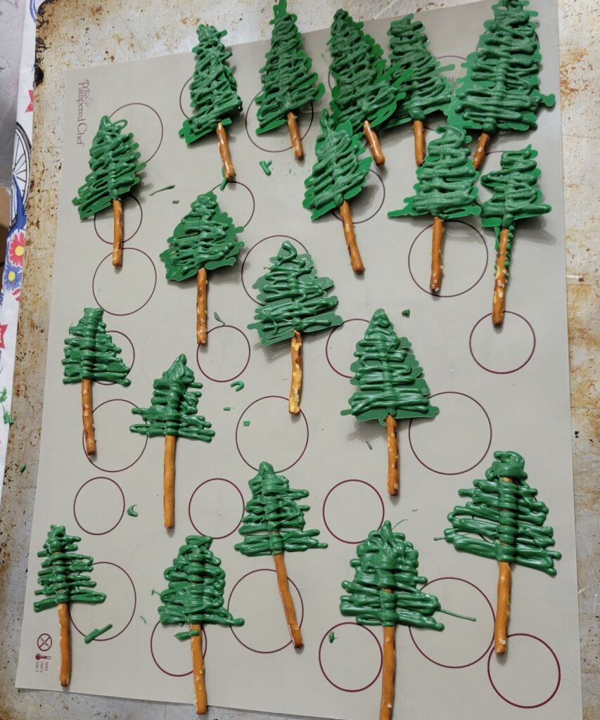 mini ever green trees made with pretzels