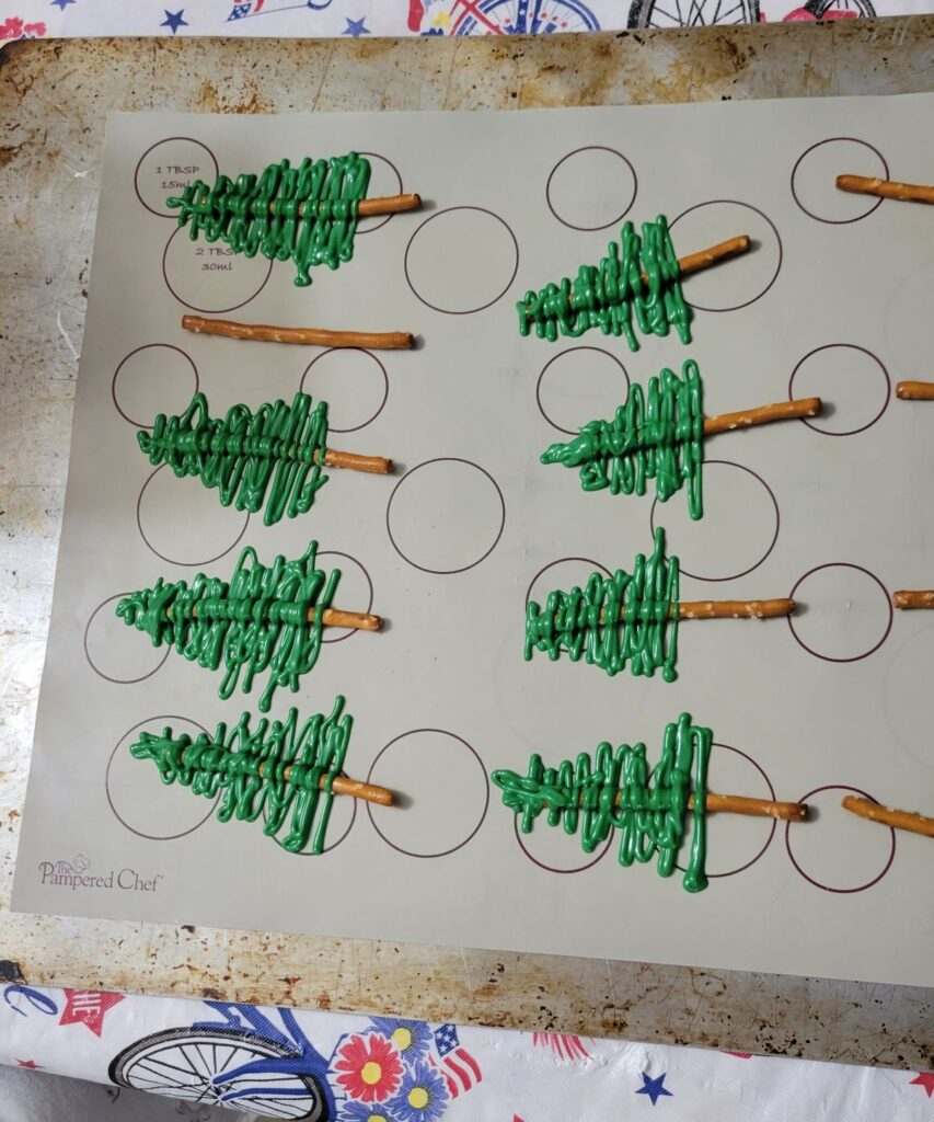 green zig zags for chocolate trees
