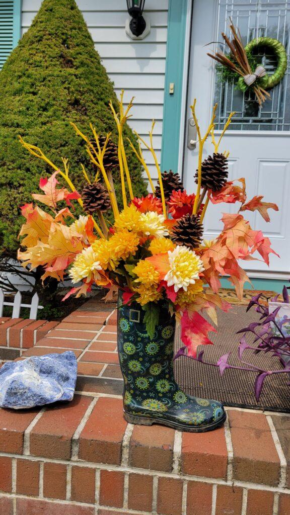 rain boot floral arrangement