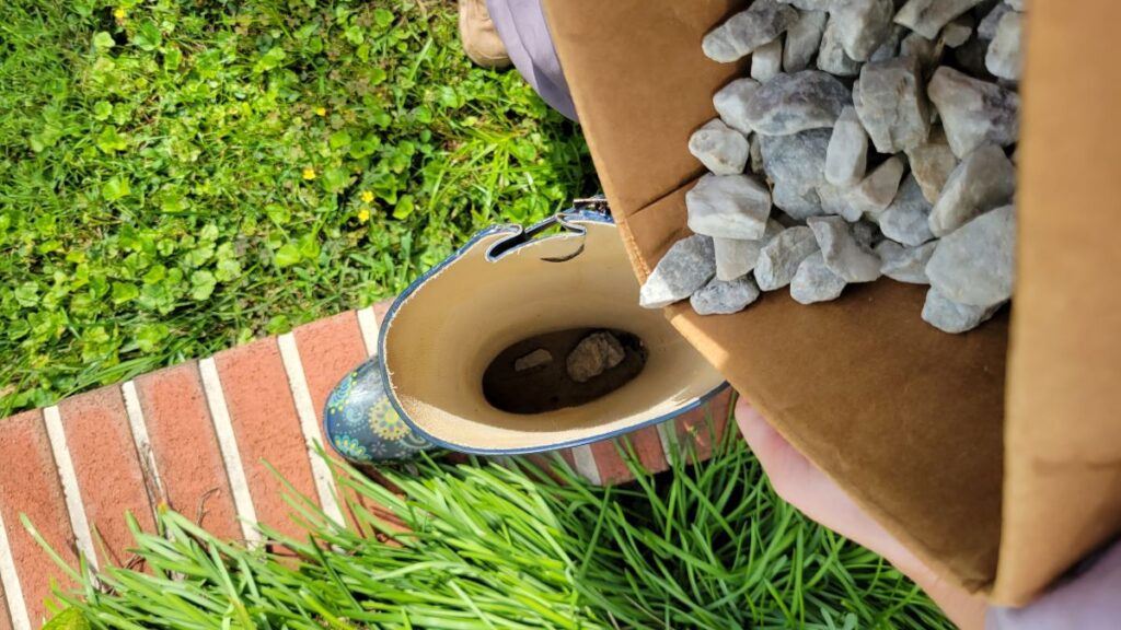 rocks to be poured into rain boot