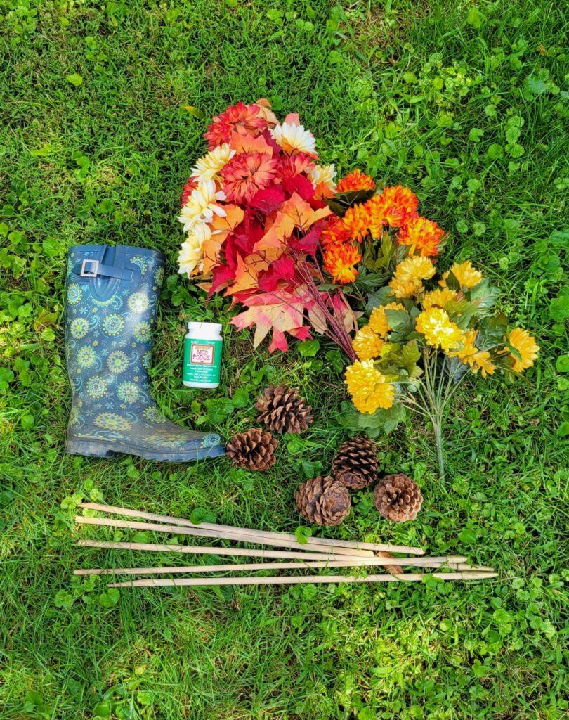 supplies for rain boot arrangement